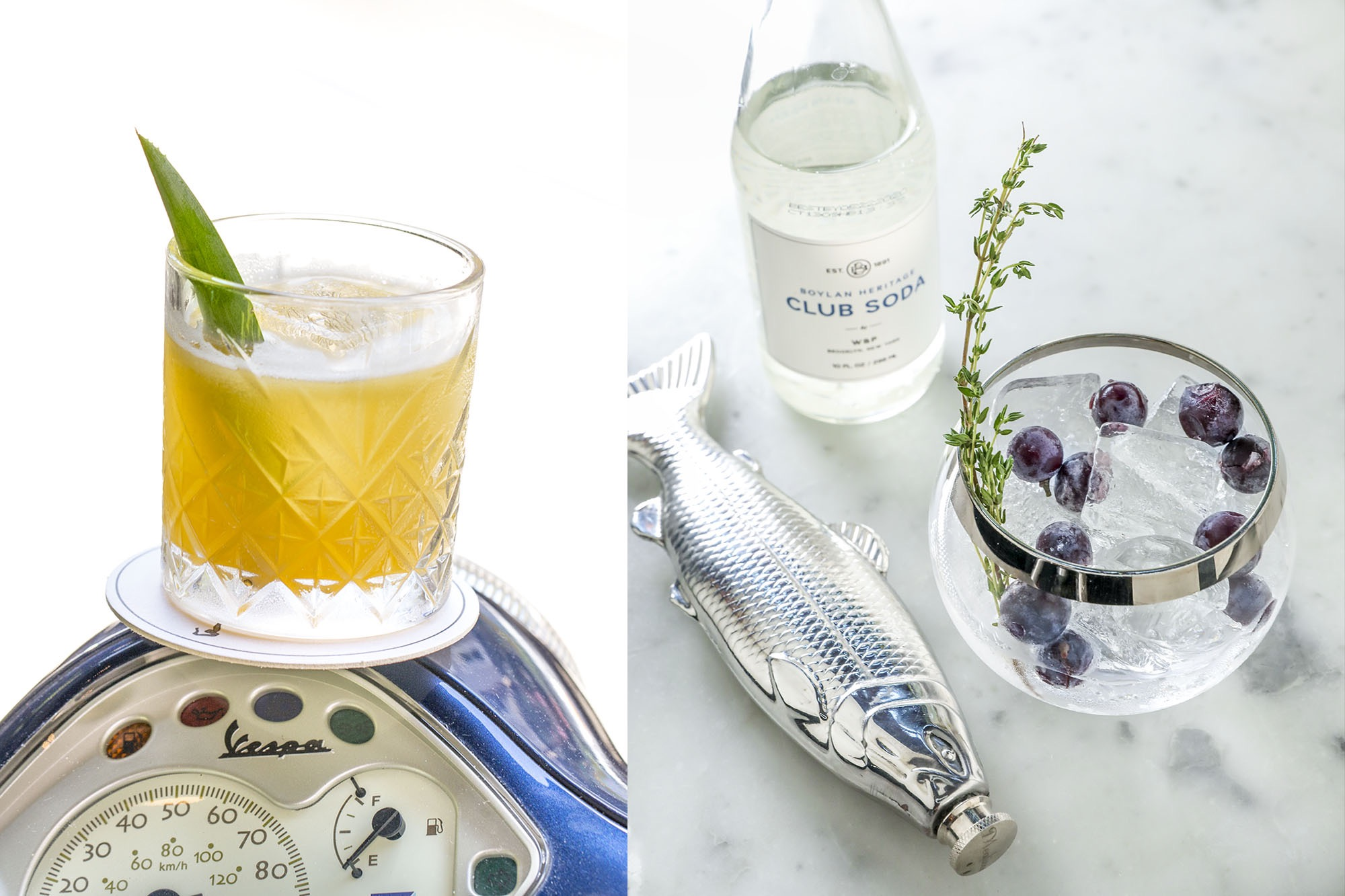 An Italian cocktail on a Vespa. And a cocktail served in a flask with blueberries and thyme.