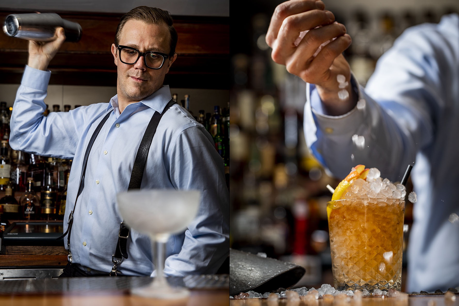 Head mixologist Jim Kearns mixing a drink at the underground bar Slowly Shirley.
