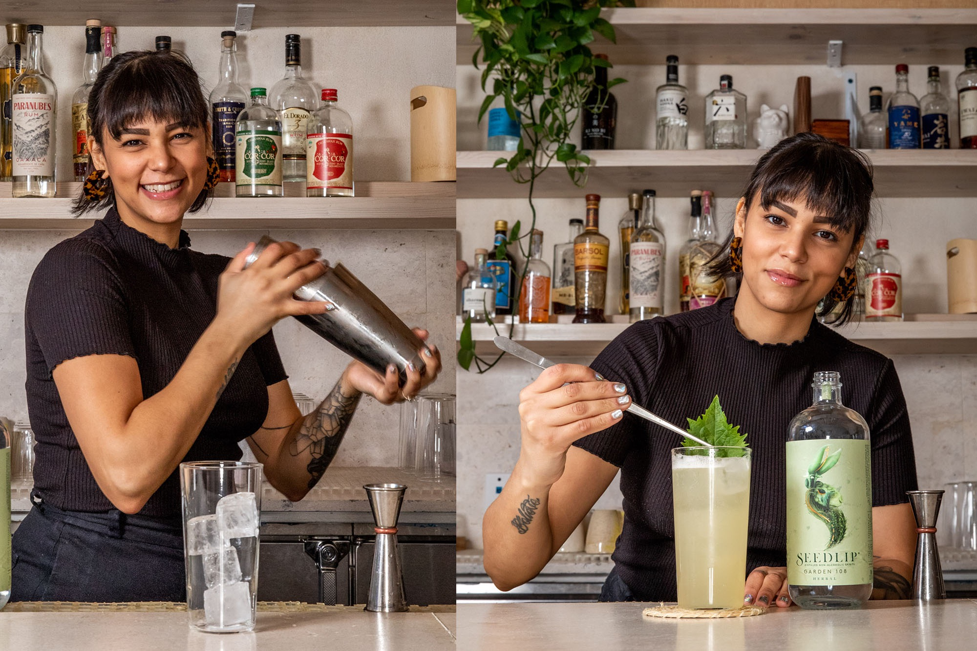 Bartender shaking a coktail and garnishing it with a leaf