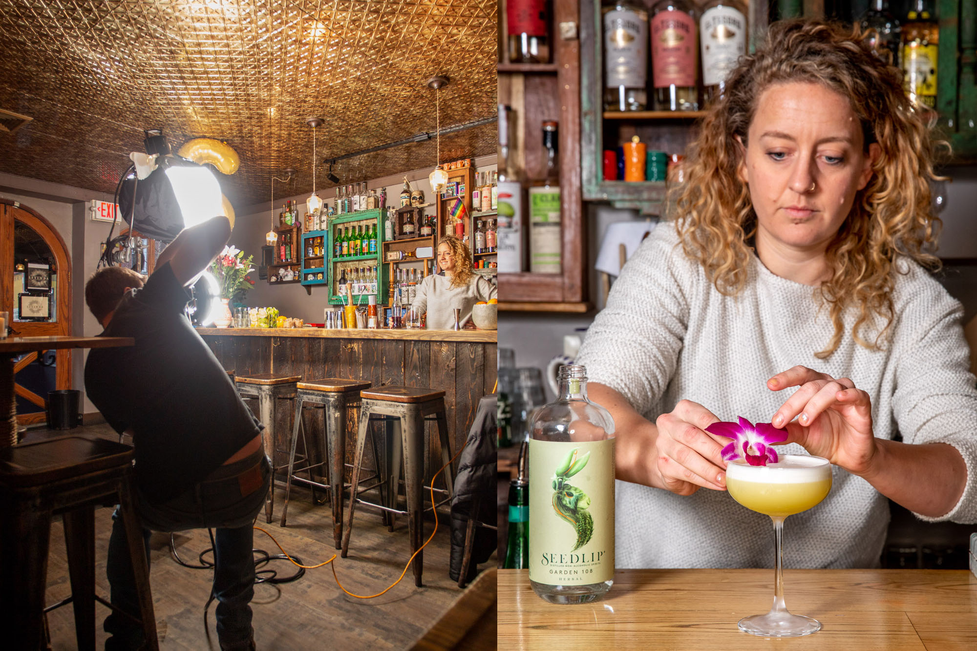 A bartender serving a cocktail and a behind the scenes of that photograph being made